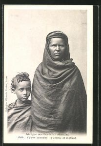 AK Mauritanie, Types Maures, Maurin mit Kind