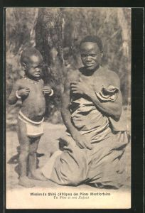 AK Malawi, Mission du Shire des Peres Montfortains, un pere et son Enfant