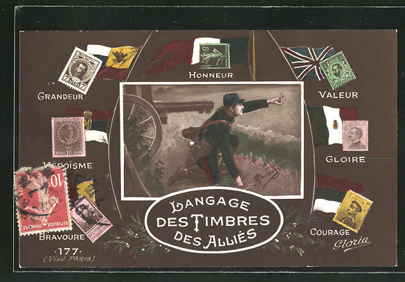 AK Langage des Timbres des Alliés, Briefmarkensprache im Krieg