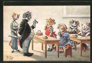 Künstler-AK Arthur Thiele: Katzenschule, Textilunterricht