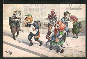 Künstler-AK Arthur Thiele: Katzenkinder auf dem Schulweg