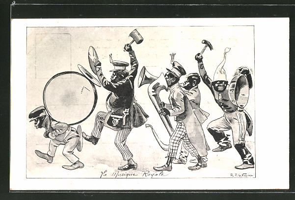 Künstler-AK sign. R. de la Nezière: La Musique Royale, afrikanische Blaskapelle, Scherz, Kolonialismus