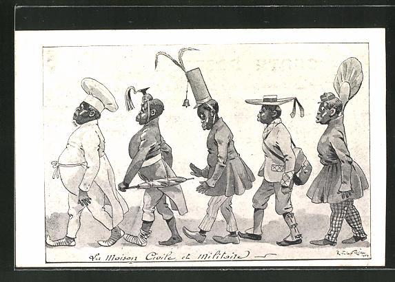 Künstler-AK sign. R. de la Nezière: La Maison Civile et Militaire, Afrikaner, Scherz, Kolonialismus