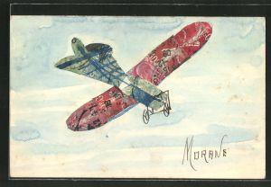 AK Morane, Flugzeug-Briefmarkencollage