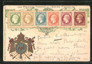 Lithographie Les Premiers Timbres de l'Emprie Francaise, Briefmarken