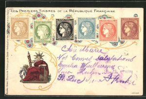 Lithographie Les Premiers Timbres de la République Francaise, französische Briefmarken
