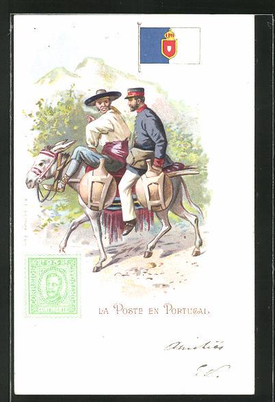 Lithographie La Poste en Portugal, Briefträger aus Portugal auf Maultier