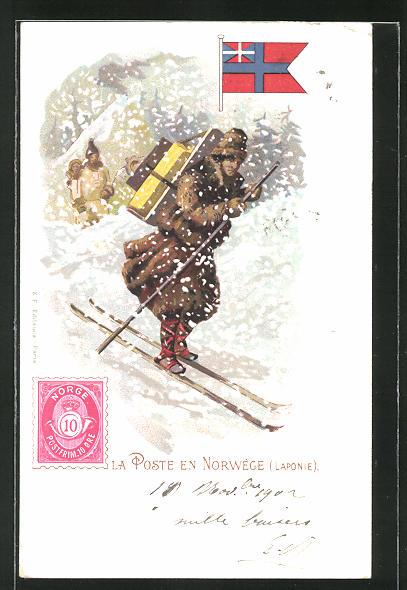 Lithographie La Poste en Norvège, Laponie, Sami-Briefträger auf Skiern in Norwegen