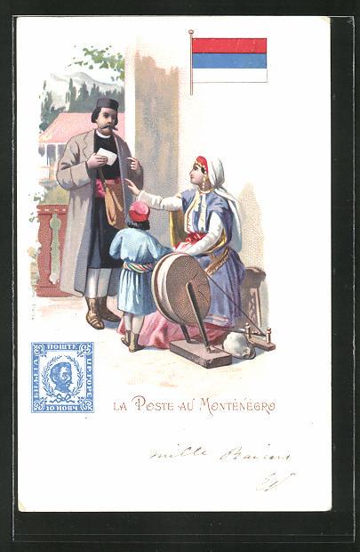 Lithographie La Poste au Monténégro, Briefträger in Montenegro