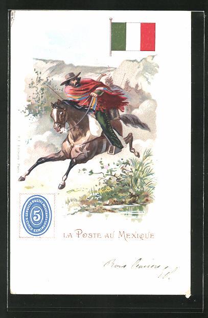 Lithographie La Poste au Mexique, mexikanischer Briefträger zu Pferd