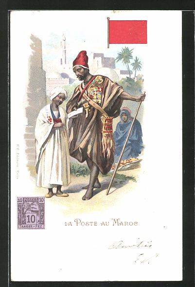 Lithographie La Poste au Maroc, marokkanischer Briefträger