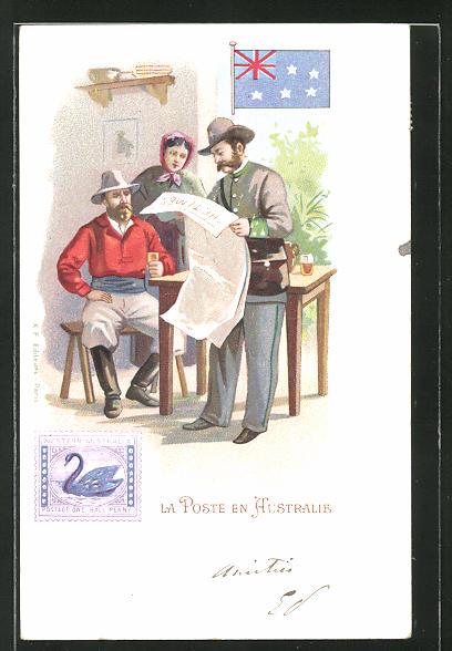 Lithographie La Poste en Australie, Briefträger in Australien