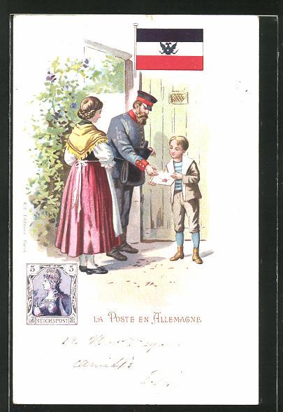 Lithographie La Poste en Allemagne, deutscher Briefträger