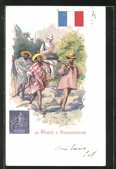 Lithographie La Poste en Madagascar, Briefträger in Sänfte auf Madagaskar