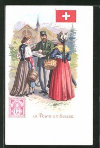 Lithographie La Poste en Suisse, Briefträger in der Schweiz
