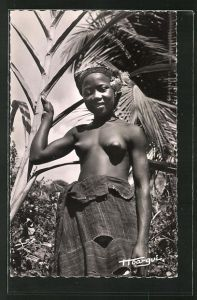 AK Jeune Fille, afrikanisches halbnacktes Mädchen