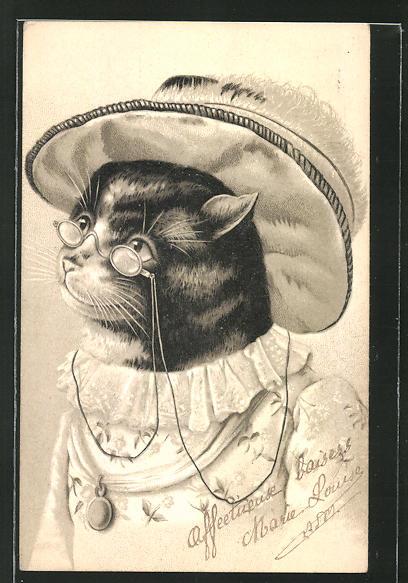 AK vermenschlichte alte Katzen-Dame mit Brille und Hut