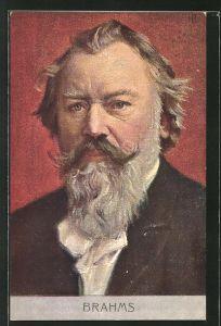 AK Portrait vom Pianist und Komponist Johannes Brahms