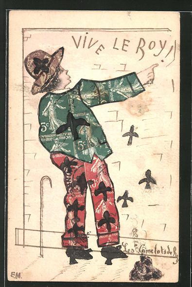 AK alter Mann pinkelt an eine Wand, Briefmarkencollage