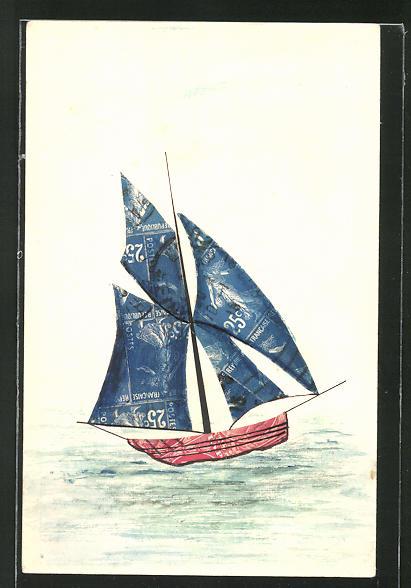 AK Segelboot auf hoher See, Briefmarkencollage