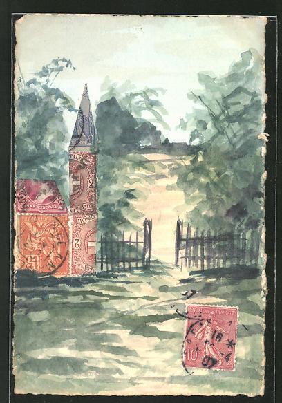 AK Partie an einem geöffneten Gartentor, Briefmarkencollage