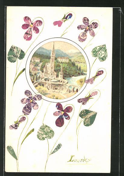 AK Ortansicht aus der Vogelschau mit Blumen, Briefmarkencollage