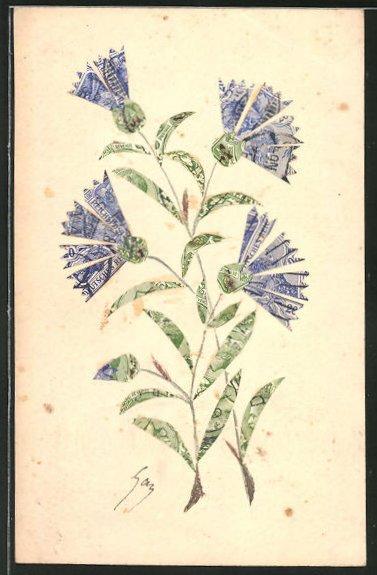 AK Blaue Blumen mit Blattwerk, Briefmarkencollage