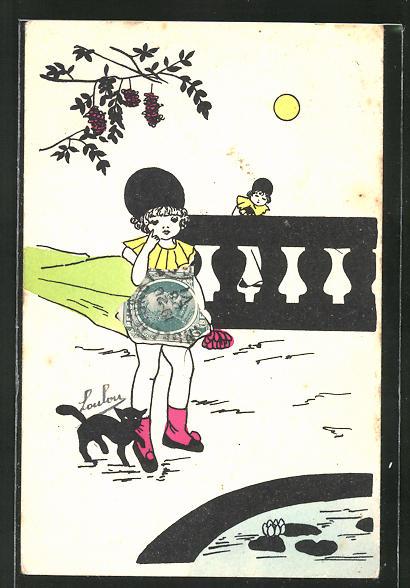 AK Mädchen steht im Mondschein am Teich, Briefmarkencollage