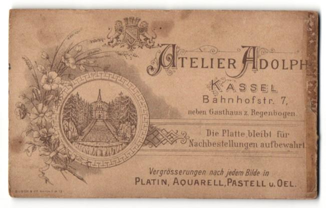 Fotografie Atelier Adolph, Kassel, Ansicht Kassel, Bergpark Wilhelmshöhe, Wappen