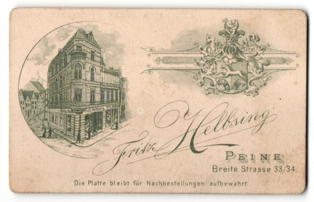 Fotografie Fritz Helbsing, Peine, Ansicht Peine, Geschäftshaus Breite Strasse 33-34, Wappen
