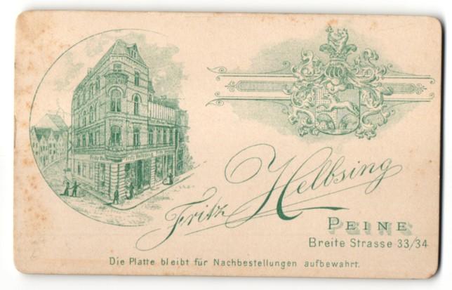 Fotografie Fritz Helbsing, Peine, Ansicht Peine, Atelier & Geschäftshaus Breite Strasse 33-34, Wappen