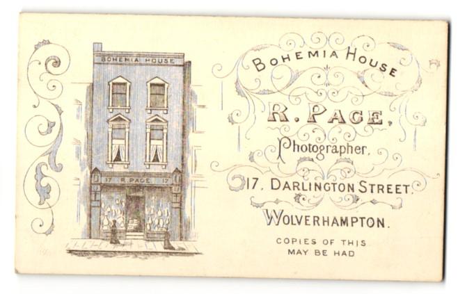 Fotografie R. Page, Wolverhampton, Ansicht Wolverhampton, Bohemia House 17 Darlington Street