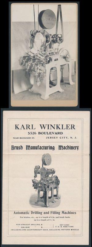 Fotografie automatische Bürsten - Bohr und Stanzmaschine, Karl Winkler Maschinenfabrik, mit Original Werbebroschur