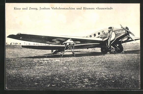 AK Riese und Zwerg, Junkers Verkehrs-Flugzeug und Bäumers