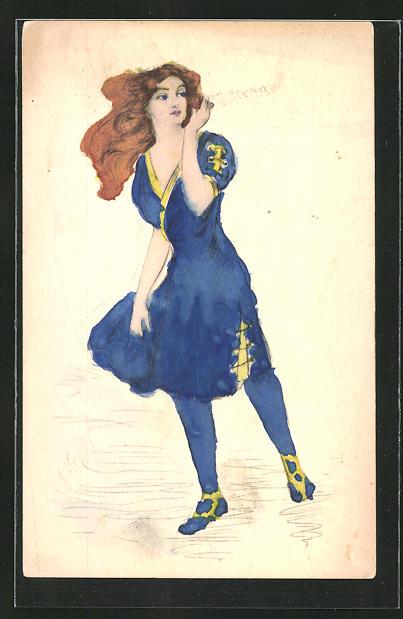Künstler-AK Handgemalt: Schöne Rothaarige im blauen Kleid