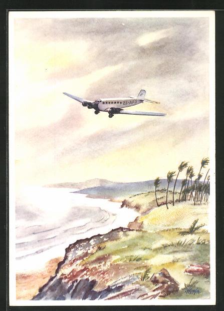 Künstler-AK Junkers Ju 52 Flugzeug über Afrika