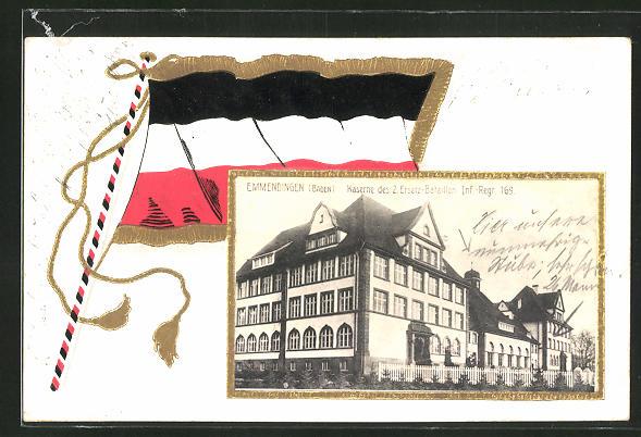 AK Emmendingen / Baden, Kaserne des 2. Ersatz-Bataillon Inf.-Regt. 169 mit Fahne