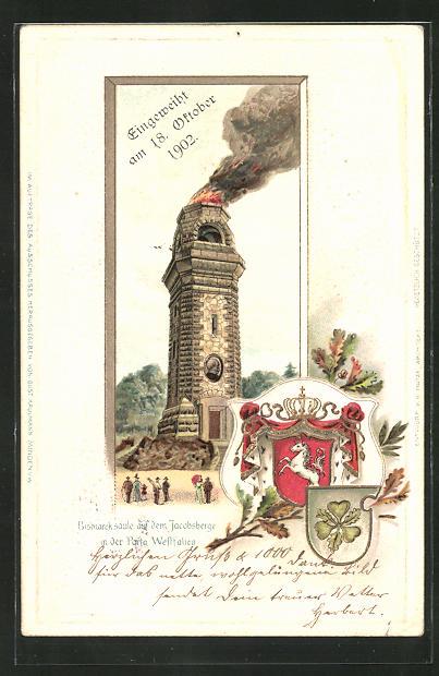 Passepartout-Lithographie Porta Westfalica, Bismarcksäule auf dem Jacobsberge mit Wappen