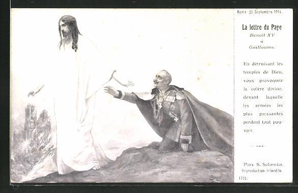 Künstler-AK S. Solomko: La lettre du Pape, Brief des Papst an Wilhelm II., Christus verlässt den deutschen Kaiser