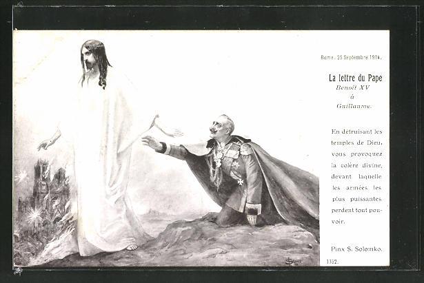 Künstler-AK S. Solomko: La lettre du Pape, Christus verlässt den deutschen Kaiser, Propaganda