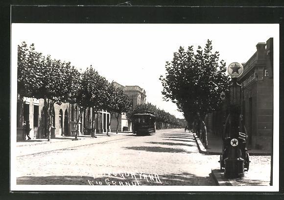 Foto-AK Rio Grande, Rue Uruguayana, Texaco-Zapfsäule, Tankstelle