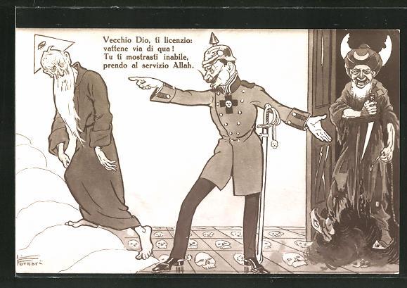 Künstler-AK Kaiser Wilhelm II. schickt Gott fort und öffnet Allah die Tür