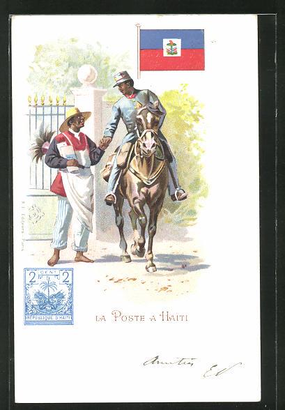 AK Haiti, La Poste, berittener Briefträger