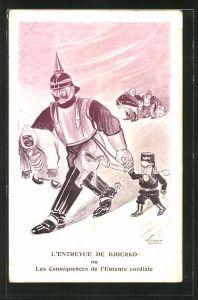 Künstler-AK Kaiser Wilhelm II. mit kleinem Zaren Nikolaus II. von Russland an der Hand
