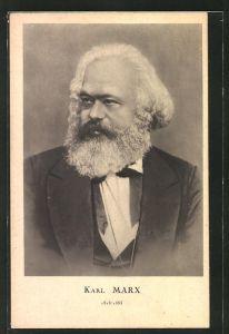AK Philosoph Karl Marx, Halbportrait mit Anzug und Bart, Arbeiterbewegung