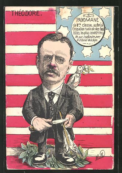 Künstler-AK sign.Mille: Théodore Roosevelt, Präsident der USA mit Messer und Federkiel, Friedenstaube auf der Schulter