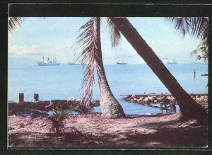 AK Port of Cortez, Blick vom Strand auf Dampfer