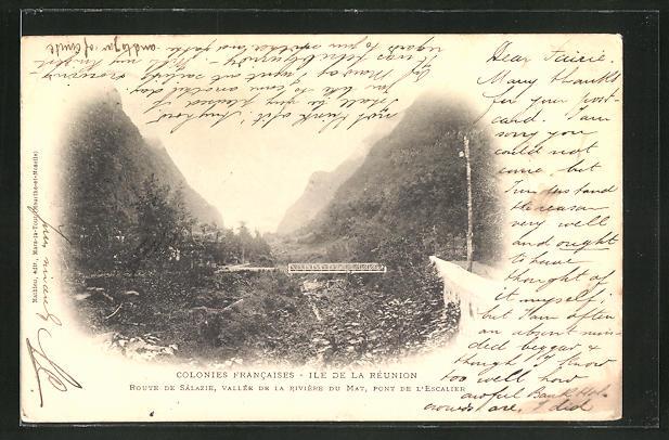 AK Ile de la Réunion, Route de Salazie, Vallée de la Rivière du Mat, Pont de l'Escalier