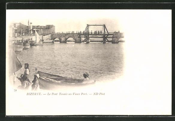 AK Bizerte, Le Pont Tounis au Vieux Port, Hafen