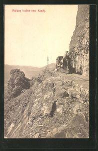 AK Kandy, Railway incline, near Kandy, Eisenbahn